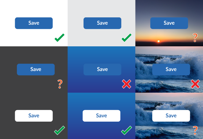 Buttons shown on a variety of backgrounds, some with poor contrast