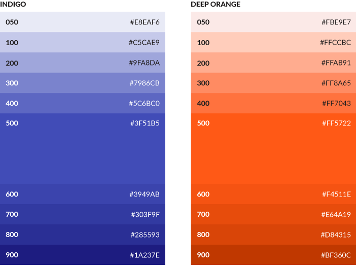 Tint stacks of blue and orange from Google Material design
