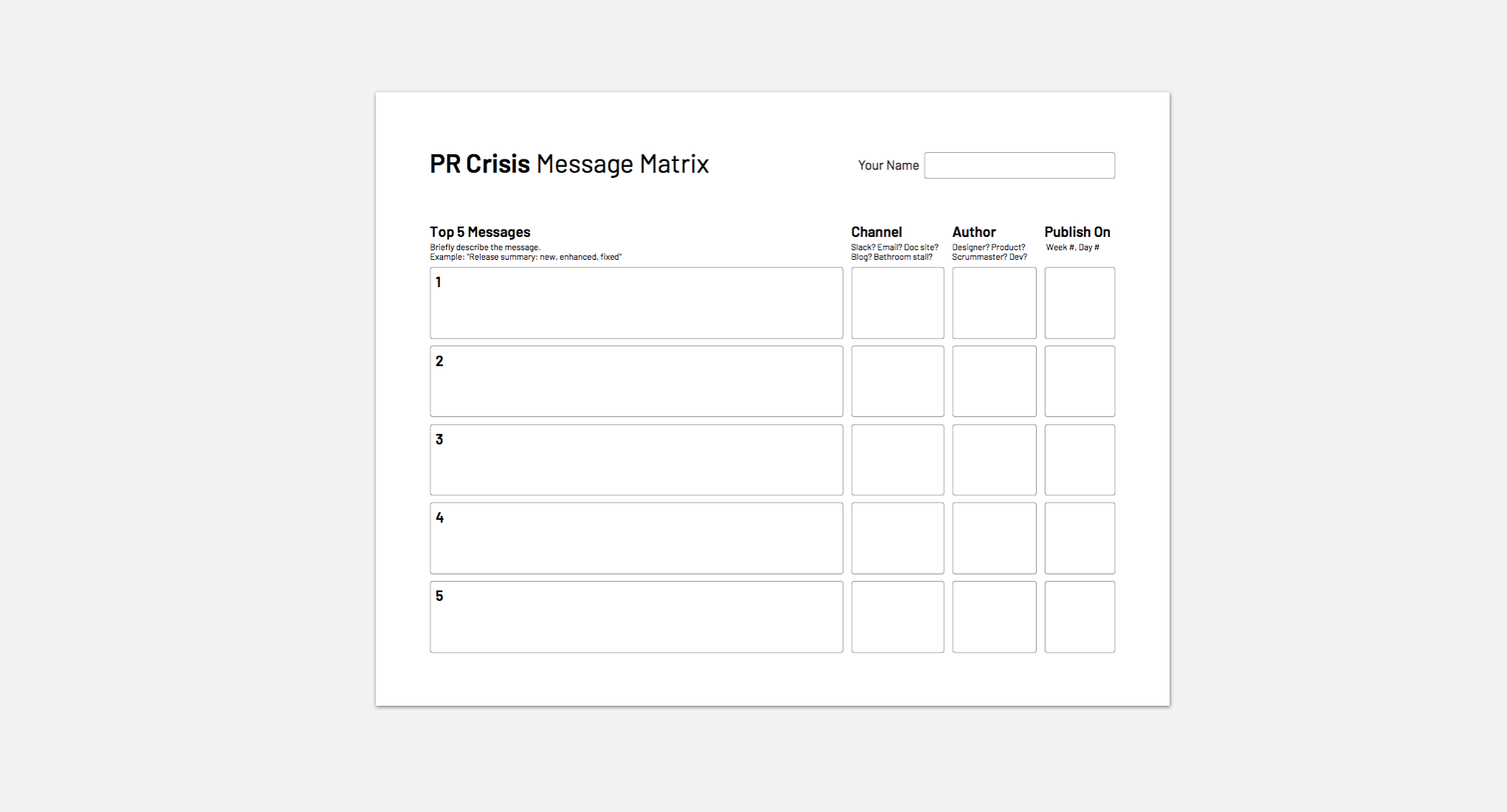 Paper template for message matrix of a PR crisis