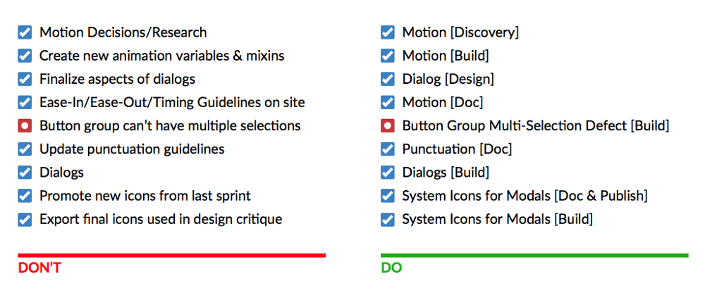 Comparison of Jira task titles, verbose and unstructured versus succinct and structured