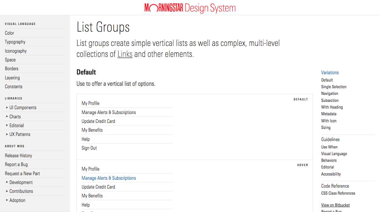 Screenshot of Morningstar component page content