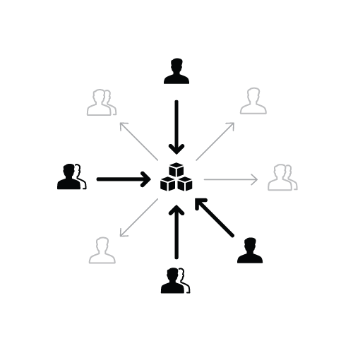Diagram of many federated people contributing to a central kit